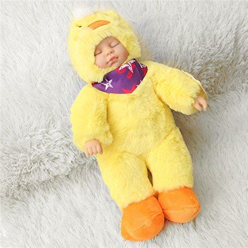 Andensoner Baby Doll Clothes, 25cm Pato Lindo Ropa recién Nacido durmiendo Vinilo Suave Reborn Baby Doll Regalo de los niños