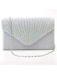 Satin Pochette Mariage Soirée Sac à Main Bandouliere Chaine Diamant Bal Sac à Main (argent)