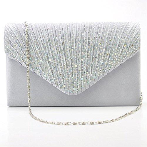 Satin Pochette Mariage Soirée Sac à Main Bandouliere Chaine Diamant Bal Sac à Ma