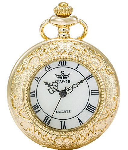 SEWOR Magnifier Japanese Quartz Movement Pocket Watch with Fashion Double Chain (Metal & Leather) (Gold)