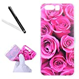Huawei P10 Silicone Case,Huawei P10 Tpu Case,Leeook Clear Slim Fit Soft Flexible Elegant Rose Flower Pattern Gel Bumper Transparent Rubber Protective Back Case Cover for Huawei P10+ 1 x Free Black Stylus-Rose Flower