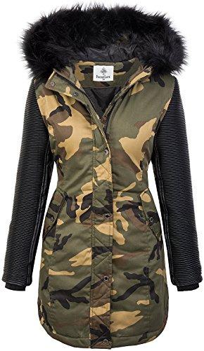 Rock Creek Damen Winter Jacke Parka Camouflage Mantel Army Jacke Bikerjacke Winterjacken Outdoorjacke Damenmantel Kunstleder Ärmel Kapuze D-349 Schwarz XL