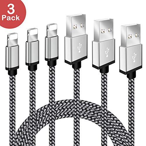 iPhone Ladekabel BECASO 3 * 2M Nylon Lightning USB Kabel für Apple iPhone X 8 7 SE 6S 6 5 5C 5S Profit iPad Mini Air Pro(Silber)