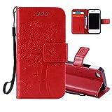 iPhone 5C Coque Rabat, Aeeque Élégant Chat et Arbre Motif Folio Housse de...