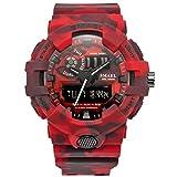 Smael Series New camouflage militare orologio Smael marca orologi sport orologio digitale a LED dual time da polso 8001, orologio militare impermeabile, RED