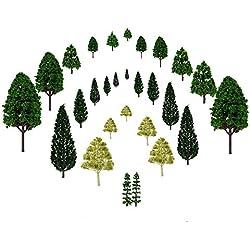 JTDEAL Modellbäume, Modellbau bäume, Modelleisenbahn Landschaft, Architektur Bäume, Mischwald für Modellbahn, Landschaftsgestaltung, 1:50, 28 Stück