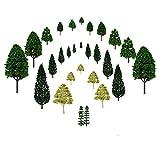 jtdeal 28 pcs Modello Alberi, Misto Miniature Modello Alberi di plastica per il paesaggio Modello Ferrovia Treni Alberi paesaggio Scala 1:50, 2,5-16 cm Alta (Verde )