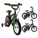 AMIGO - BMX Fun - Bicicletta Bambini - 14'' (per 3-4 Anni) - con stabilizzanti - Nero/Verde