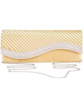 Kisschic Strass plissettati-borchiati raso borsetta da sera borse pochette per le donna Matrimonio