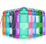 Grsta Botella de agua deportiva- 1000ml/32oz - sin BPA & a prueba de fugas, reutilizable de plastico tritan, agua botellas ideal con filtro para niños para niños, correr, gimnasio, yoga, aire libre y camping, 1-click apertura(Aguamarina)