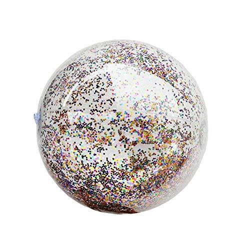 TARTIERY Aufblasbarer Strandball mit Glitzer-Konfetti, Strandball, transparent, Pailletten-Ball, Sommer-Wasserspielball, Pool-Party-Zubehör für Kinder, weiß, 40 cm