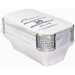 20 moules en aluminium avec couvercle • R13L • Moule en aluminium • Petit • non divisé • Récipient en aluminium • Boîte à repas • Assiette • Plat à four • Plat à lasagnes • Ramequin, 670 ml