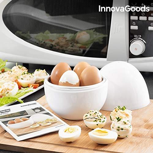 Innovagoods bb_V0101051 Cuecehuevos Para Microondas Con Recetario Boilegg, Blanco