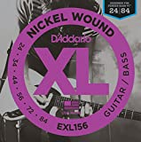 D'Addario EXL156 Saitensatz Nickelplated Steel Round Wound für The Fender Bass VI (Intervall von .024 bis .084 Zoll)