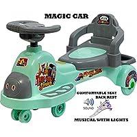 Goyal's Tuk Tuk Senior Free Wheel Musical Magic Car with Back Rest - (Grey)