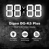 DIGOO 3D 18 'LED Digital Wand Wecker, DC-K3Plus Multifunktions Digital Wecker mit Snooze-Modus, 12/24 Stunden Anzeige, DREI Einstellbare Helligkeit, Fernbedienung Funktion, weiß