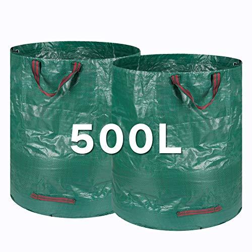 *Kyrieval Gartensack Laubsack Gartenabfallsack Selbstaufstellend Abfallsack für Gartenabfälle aus robustem Wasserdichtes Polypropylen Gewebe, 2 Stück 500L*