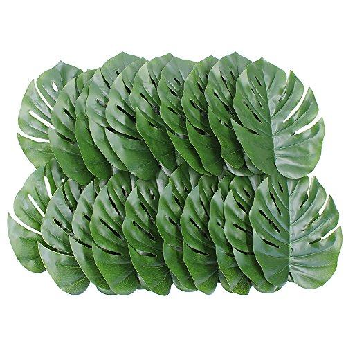 Lenhart-Tropical-sinttica-verde-hojas-de-planta-para-decoracin-de-fiesta-y-decoracin-de-la-habitacin-Set-de-20leaves