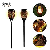 EleLight 2 Pack Solar Taschenlampe, 96 LEDs Wasserdichte Flickering Flames Landschaft Rasen Lampen mit Dancing Flames für Outdoor Garten Patio Hof Pathway Pool Decor