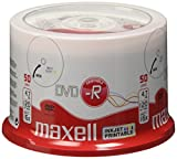 Maxell DVD-R 4,7 Go 16X Printable White Multi-Use Spindle de 50
