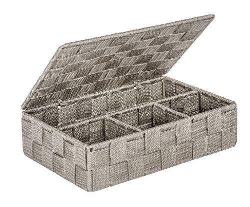WENKO 22569100 Aufbewahrungskorb mit Deckel Adria Taupe Klein - Badkorb mit Deckel und 4 Fächern, Polypropylen, 26 x 7,5 x 17 cm, taupe
