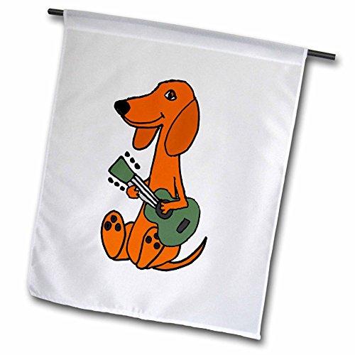 3dRose FL_275756_1 Lustige rote Dackel Welpe Spielen Gitarre Cartoon-Garten-Flagge, 30,5 x 45,7 cm, Weiß