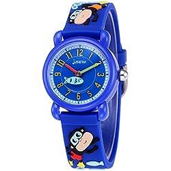 JNEW - Niños Reloj Impermeable Dibujo Animado Reloj de Pulsera Analógico de Cuarzo para Niños Reloj Infantil Cute Watch for Boys - 3-10 Años - Azul Oscuro - con Caja