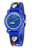 jnew-Reloj para niños niños resistente al agua analógico 3d con modelo de mono con pulsera de plástico con caja de muñeca-3-10años-2colores azul oscuro