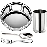 King International Stainless Steel 4 In 1 Plate,Glasses,Spoon,Fork,Set Of 4 Pieces