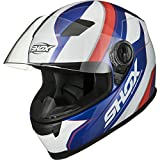 Shox Sniper Scope Motorcycle Helmet XS White Blue Red
