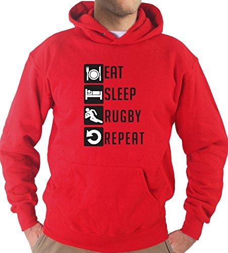 Settantallora - Felpa Con Cappuccio KJ2484 Eat Sleep Rugby Repeat Rosso