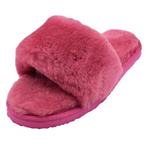 Oasap Damen Fashion Winter Warm Offen Flache Slippers Red