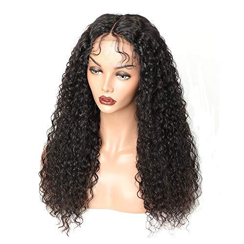 HXQXPY Perücke Lace Front Schwarze Kleines Lockiges Haar Damen Kunstfaser Natürlich Langes Lockiges Haar Halloween Cosplay Hochzeit die Frisur,24Inch