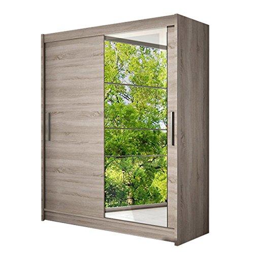 Schwebetürenschrank Presto VI Kleiderschrank mit Spiegel, Modernes Schlafzimmerschrank, Schiebetürenschrank, Garderobe, Schlafzimmer (Trüffel)