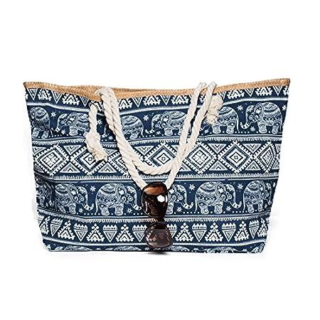 Kandharis Strandtasche Badetasche große Sommertasche Schultertasche Shopper mit Reissverschluss Elefant Ethnische Muster…