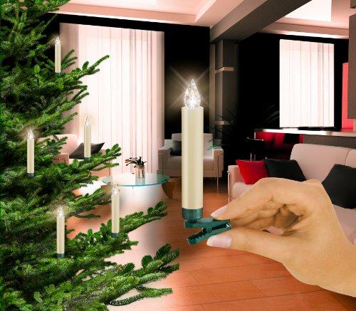 Krinner 74232 LUMIX CLASSIC - Set de extensión de iluminación para el árbol con 5 velas LED inalámbricas y mando infrarrojo, color blanco cálido (pilas incluidas)