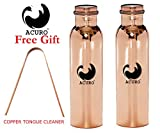 #8: Acuro Set Of 2 Pure Copper Handmade Quality Copper Bottle Water Bottle Joint free - Leak Proof | Pure Copper Water Bottle | 1000 ML Capacity | for Good Health Benefits Yoga, Ayurveda(1 LITER)