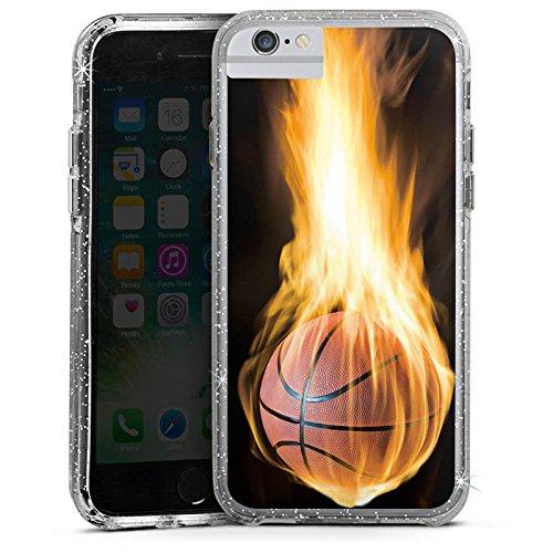 Apple iPhone 7 Bumper Hülle Bumper Case Glitzer Hülle Basketball Feuer Fire Bumper Case Glitzer silber