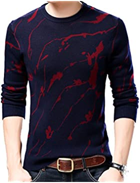 WTUS Crew Knit,Suéter de Más Grueso para Hombre,rojo/cian