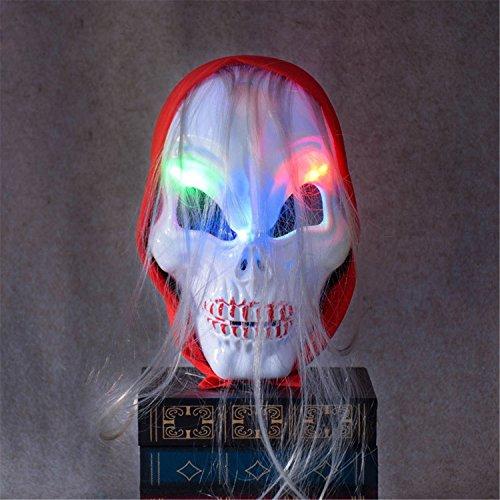 Skkmall led mask-halloween horror party skull testa led lampeggiante maschera costume party horror zombie red turban maschera fantasma con rgb light for spoof (1pcs)