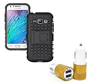 Aart Hard Dual Tough Military Grade Defender Series Bumper back case with Flip Kick Stand for Samsung JI-ACE + Car Charger With 2 Fast Charging USB Ports by Aart Store.