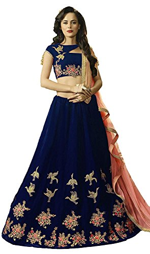 Ds Fabs Women's Velvet Semi-Stitched Lehenga Choli (bluepankhida_Blue_Semi-Stitched)