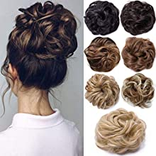 Messy Hair Scrunchies Hair Bun Extensions Curly Wavy Hair Pieces For Women Updo Ponytail Hair Extensions Hair Donut Hair Chignons Hair Accessories - Sandy Blonde to Bleach Blonde