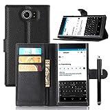 Owbb Folio Brieftasche Ledertasche für Blackberry Priv Smartphone mit Ständerfunktion und card holder-Schwarz