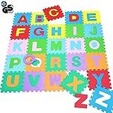 be0ae65731 BAKAJI Tappeto Puzzle 60 Pezzi con Lettere Alfabeto colorato in Morbida  Gomma Eva Resistente, Isolante