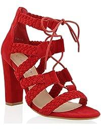 ESSEX GLAM Gamuza Sintética Zapatos de antelina con tacón alto cuadrado y tiras