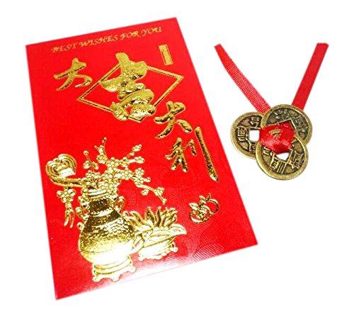 Etwas finden, verschiedenen chinesischen 3Glück und Reichtum Antik Münzen und Umschlag (Münze Umschläge 2x2)