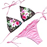 LHWY Bikini Damen Push Up, Frauen mit Blumenmuster BH Badehose Bikini Set Padded Bademode Badeanzug Badetasche Neckholder Fashion Design Spitze Rosa (S, Rosa)