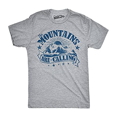 Crazy Dog TShirts - Mens The Mountains Are Calling Cool Sunset Vintage Rockies Funny Hiking Nature T shirt (Grey) M - Homme