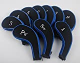 MamimamiH Golf 3-sw 10 Long Neck Iron Synthetic Leather Durable Zippered Head Covers Black & Blue Fit All Brands Titleist, Callaway, Ping, Taylormade, Cobra, Nike, Etc.